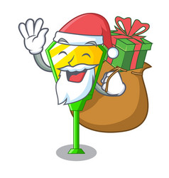 santa with gift character a lamp in post style vector image