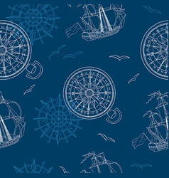 Seamless sea background with ship and compass vector