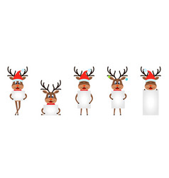set funny deers with sheets papers christmas vector image
