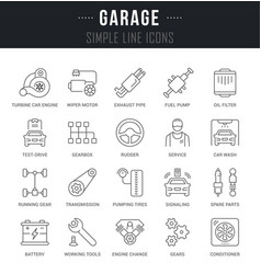 Set line icons garage vector