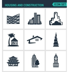 Set modern icons housing and vector