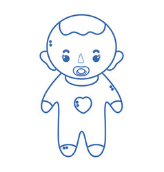 Silhouette baby boy with pacifier and hairstyle vector