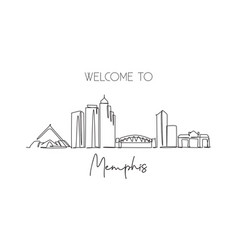 single continuous line drawing memphis city vector image
