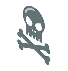 skull and bones icon isometric style vector image