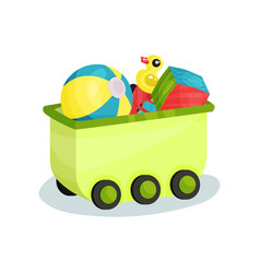 Small green wagon full of children toys vector