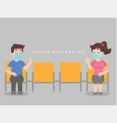 Social distancing people sit on chair vector