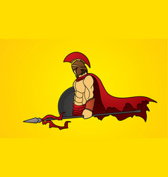 Spartan warrior with spear and shield roman army vector