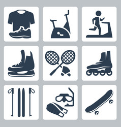 Sports goods icons set sportswear stationary vector