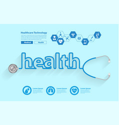 Stethoscope in the shape of a health words design vector