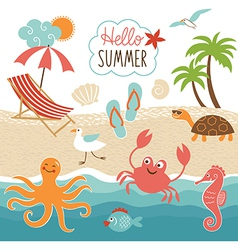 Summer images set vector image