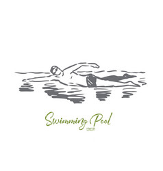 Swimming pool sport water swimmer vector