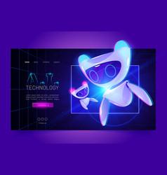 Technology cartoon web banner artificial bot vector