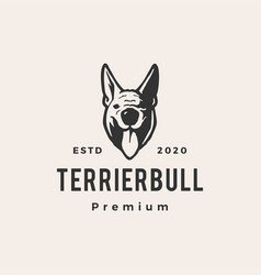 terrier bull dog hipster vintage logo icon vector image