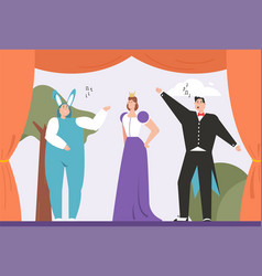 Theater actors play on stage children fantasy vector