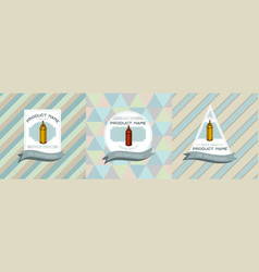 three colored labels with sauce vector image