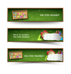 three green school banner set vector image