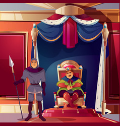 Throne room ballroom with king guard vector
