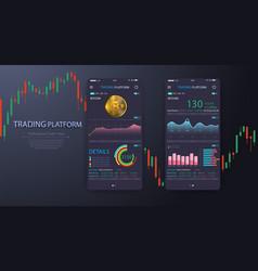 Trade exchange app on phone screen vector