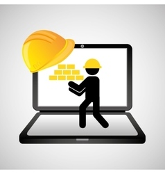 Under construction web page worker brick wall vector
