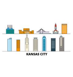 united states kansas city flat landmarks vector image