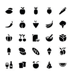 Vegetable and food glyph icons vector