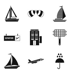 Wandering icons set simple style vector