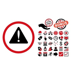 Warning Error Flat Icon with Bonus vector image vector image