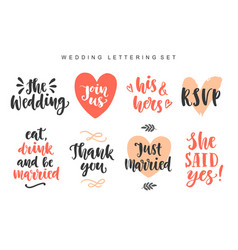 Wedding invitations lettering set vector