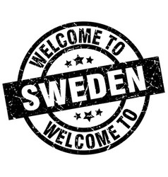 welcome to sweden black stamp vector image