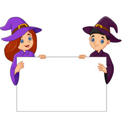 witch with blank sign vector image