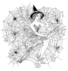 witch with design cobwebs vector image
