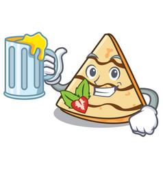 With juice crepe mascot cartoon style vector