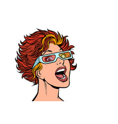 woman in movie stereo glasses vector image
