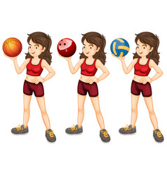 woman with three different types balls vector image