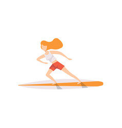 young woman on a surfboard surfer girl character vector image