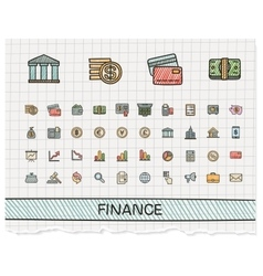 Finance hand drawing line icons doodle vector image vector image