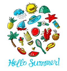 Hello summer lettering vector
