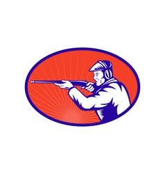 Hunter aiming a shotgun rifle side vector image vector image