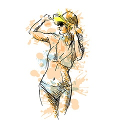 Colored hand sketch woman in swimsuit vector image