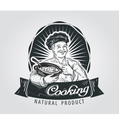 cooking logo design template restaurant vector image