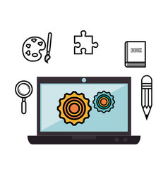 laptop and objects design vector image