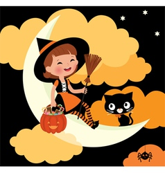 Little witch riding on the moon on Halloween night vector image vector image