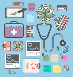 Medical equipment isolated colorful icon set vector