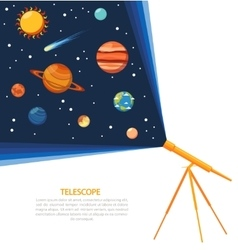 Telescope solar system concept poster vector image vector image