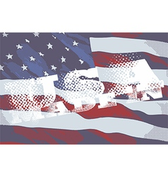 The inscriptions made in USA and flag of America vector image