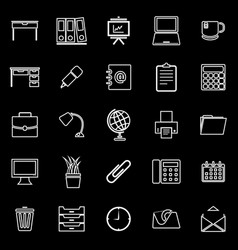 workspace line icons on black background vector image vector image