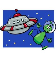 alien with ufo cartoon vector image vector image