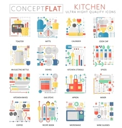 Infographics mini concept Kitchen tools icons for vector image