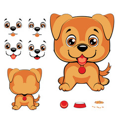set of cartoon faces with black dog nose and vector image vector image