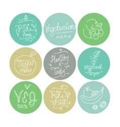 Vegetarian food labels Hand drawn typographic vector image vector image